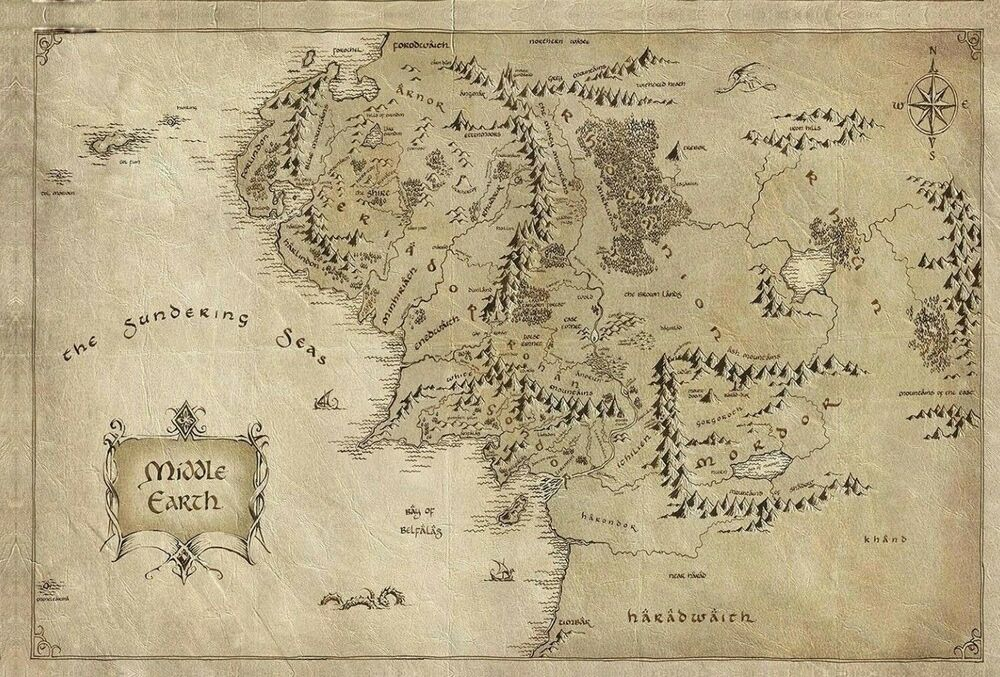 Middle Earth Map Large.Lord Of The Rings Middle Earth Map Fantasy Large Poster Canvas