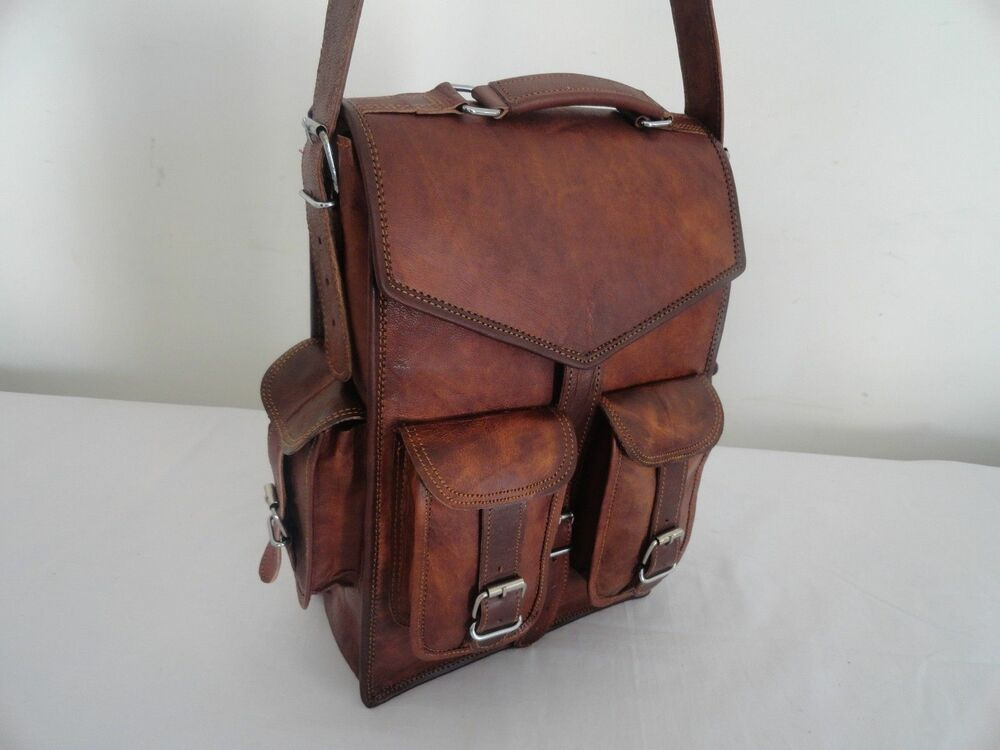 "Men's Genuine Leather Large Backpack Hiking 15"" Laptop ..."