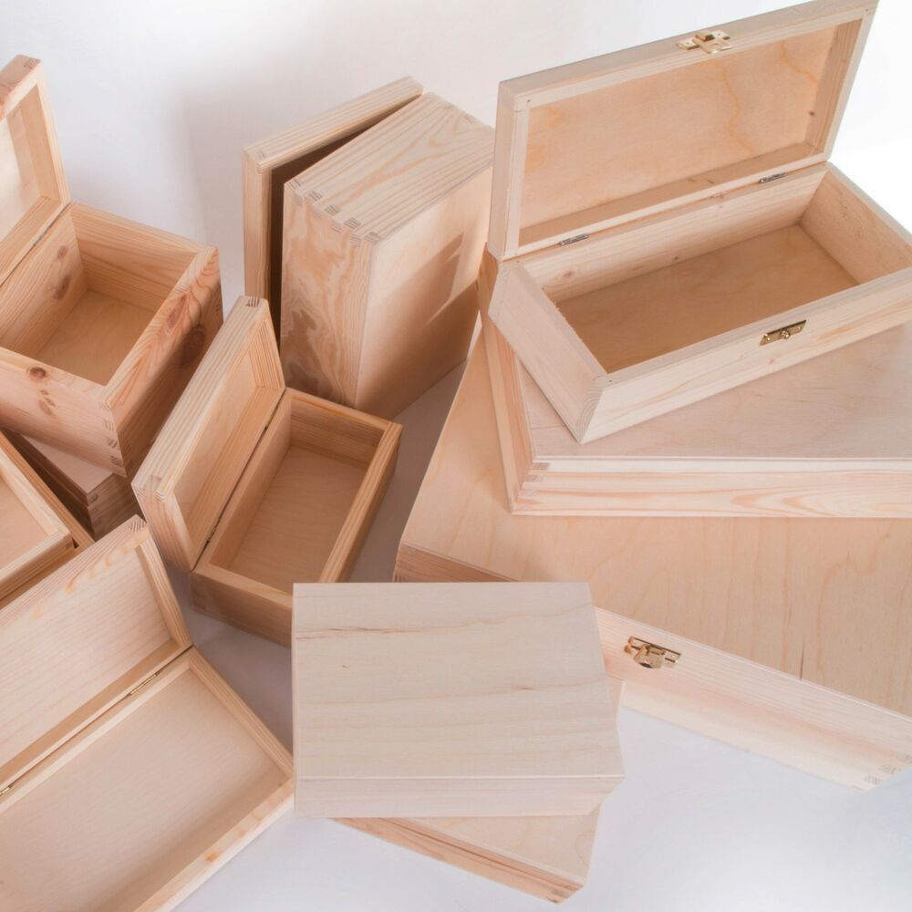 selection of small large wooden storage boxes memory keepsake box with lid ebay. Black Bedroom Furniture Sets. Home Design Ideas