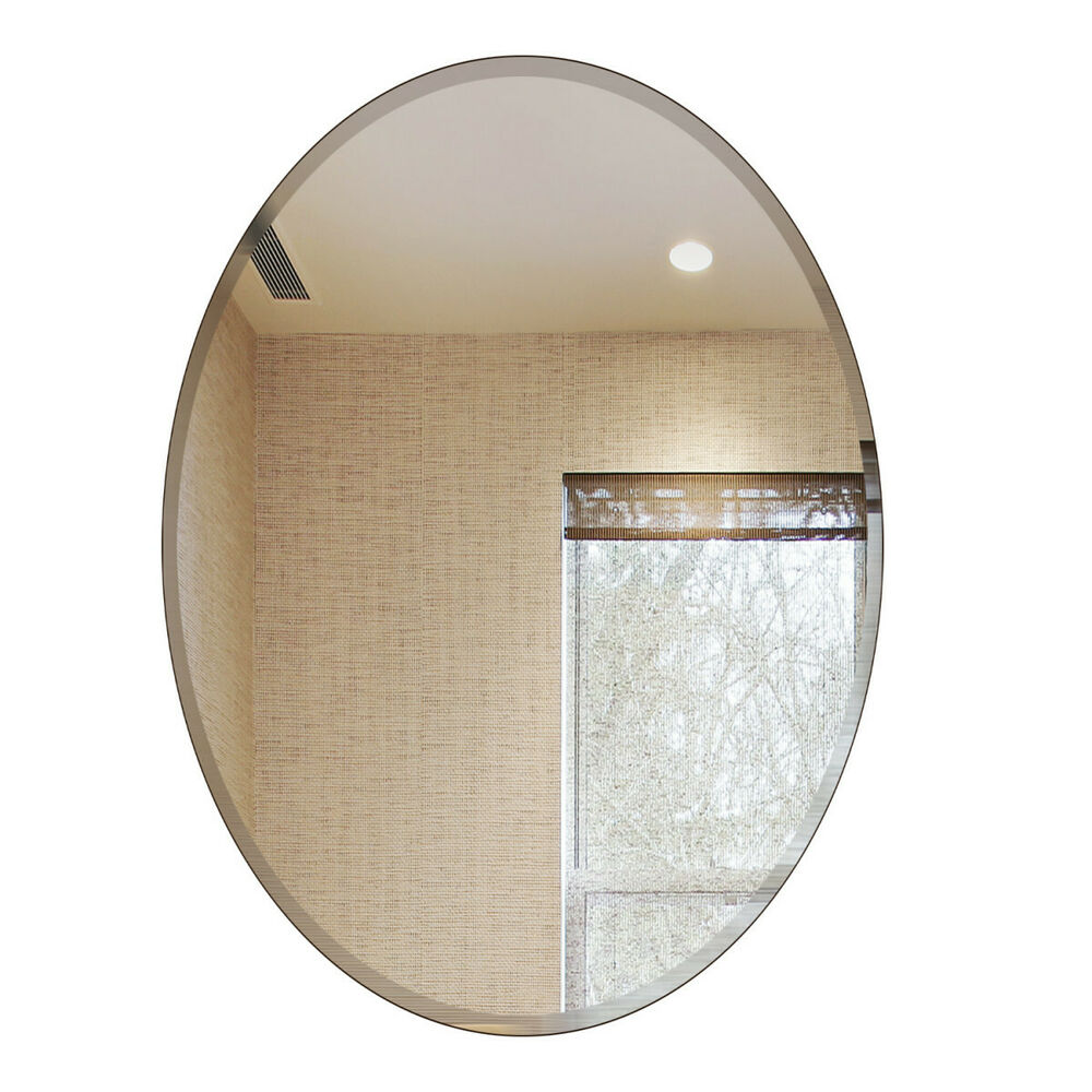 Fab glass and mirror oval beveled polish frameless wall - Frameless beveled mirrors for bathroom ...