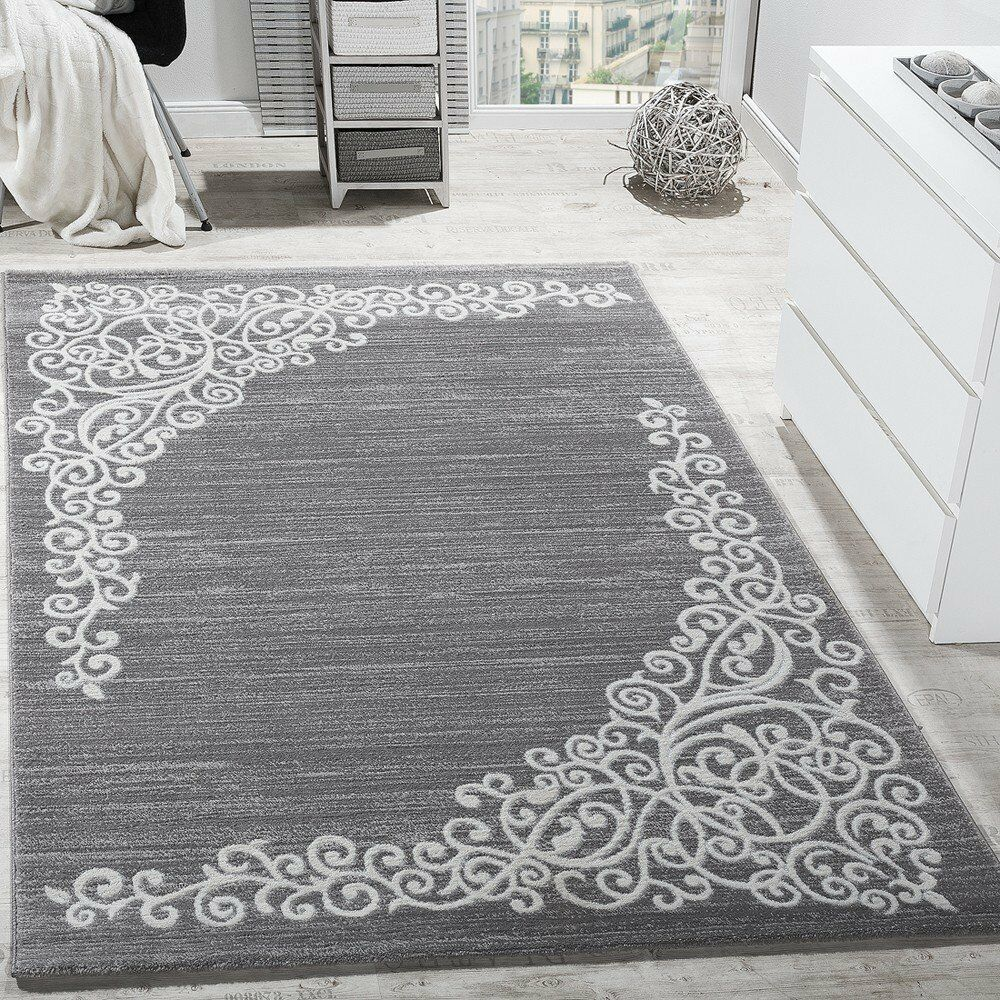 Silver Bedroom Rug Grey White Pattern Soft Living Room ...