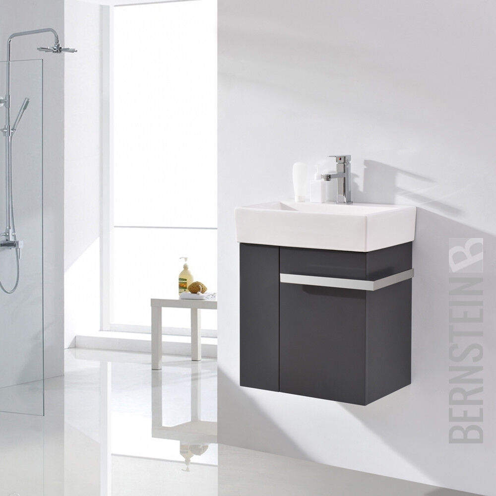 badm bel set badezimmer unterschrank waschtisch badschrank g ste wc anthrazit ebay. Black Bedroom Furniture Sets. Home Design Ideas