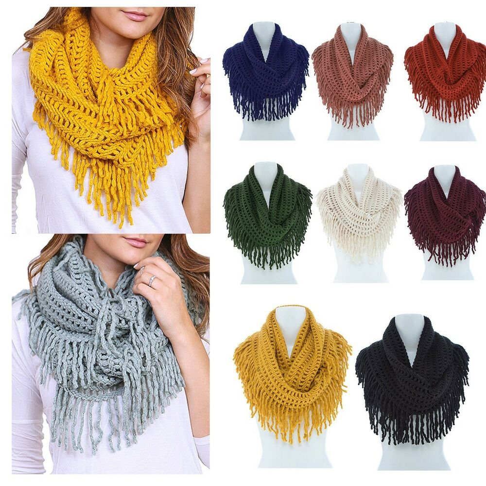 Women Winter Warm Infinity Long Circle Cable Knit Cowl Neck Tassel