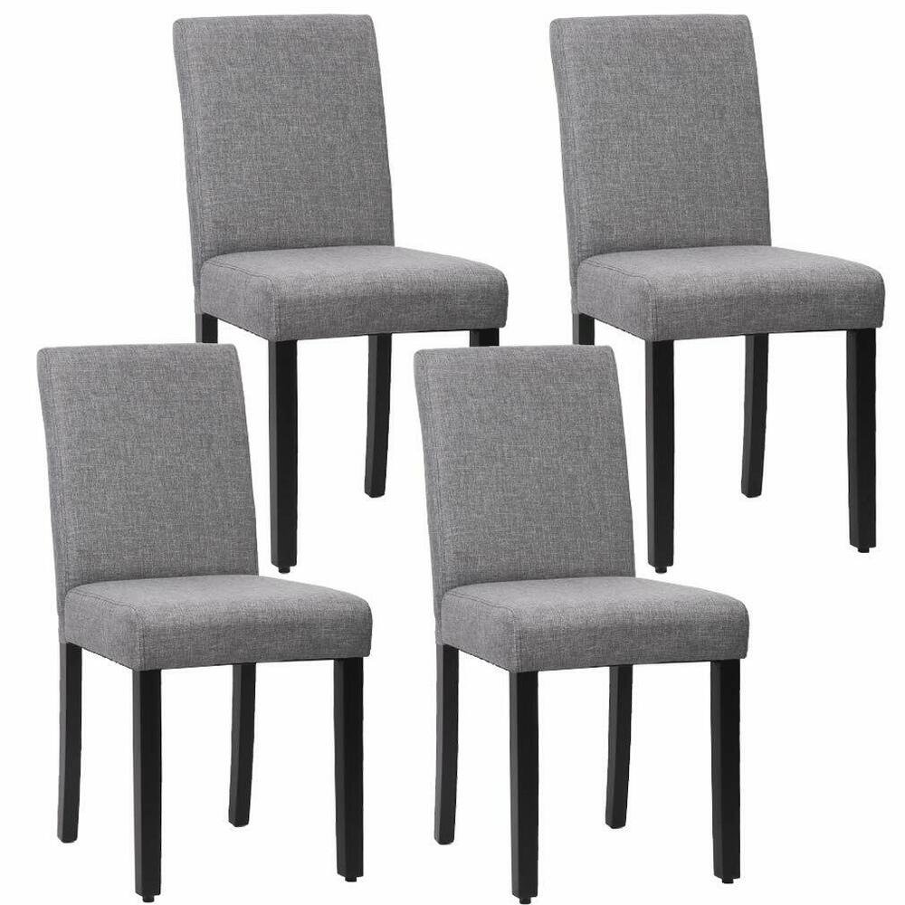 New Set Of 4 Grey Elegant Design Modern Fabric Upholstered