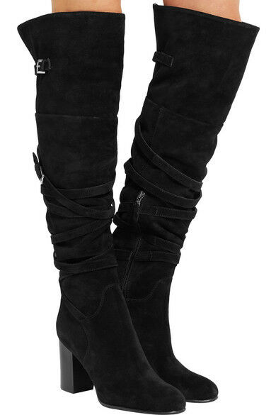 9d594b9a1 Details about SAM EDELMAN Sable Black Belt Strap Suede Over the Knee Boot  NEW