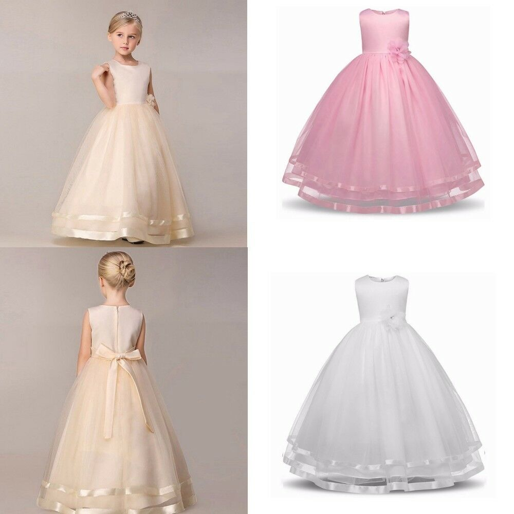 Girls ivory bridesmaid dress ebay girls kids flower princess formal wedding bridesmaid gown long dress 4 12 age uk ombrellifo Image collections