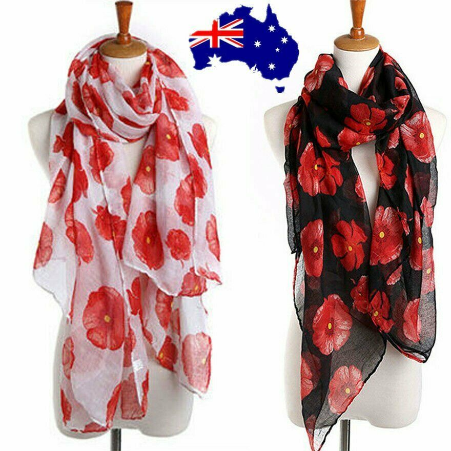 7c44bbfddc3 Details about Women Ladies Poppy Print Floral Scarf Remembrance Poppies  Scarves Wrap Shawl ON