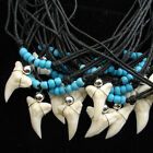 WHOLESALE BULK LOT 50 PCS real shark tooth glass seed beaded cord necklaces