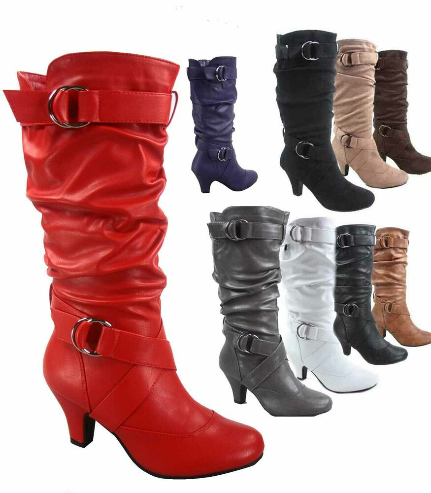 88cb2b63055 Women s Fashion Low Heel Zipper Slouchy Mid-Calf Boots Shoes All Size 5 -  11 NEW