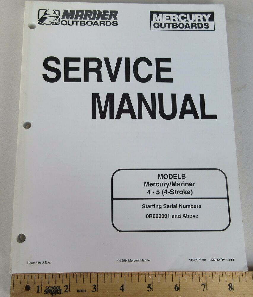 Mercury Mariner 4, 5 HP (4 Stroke) Boat Motor Shop Service Manual Book  90-857138 | eBay