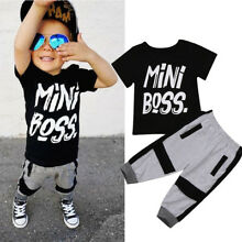 US Toddler Kids Baby Boy Cotton T-shirt Tops Harem Pants Outfits Set Clothes New