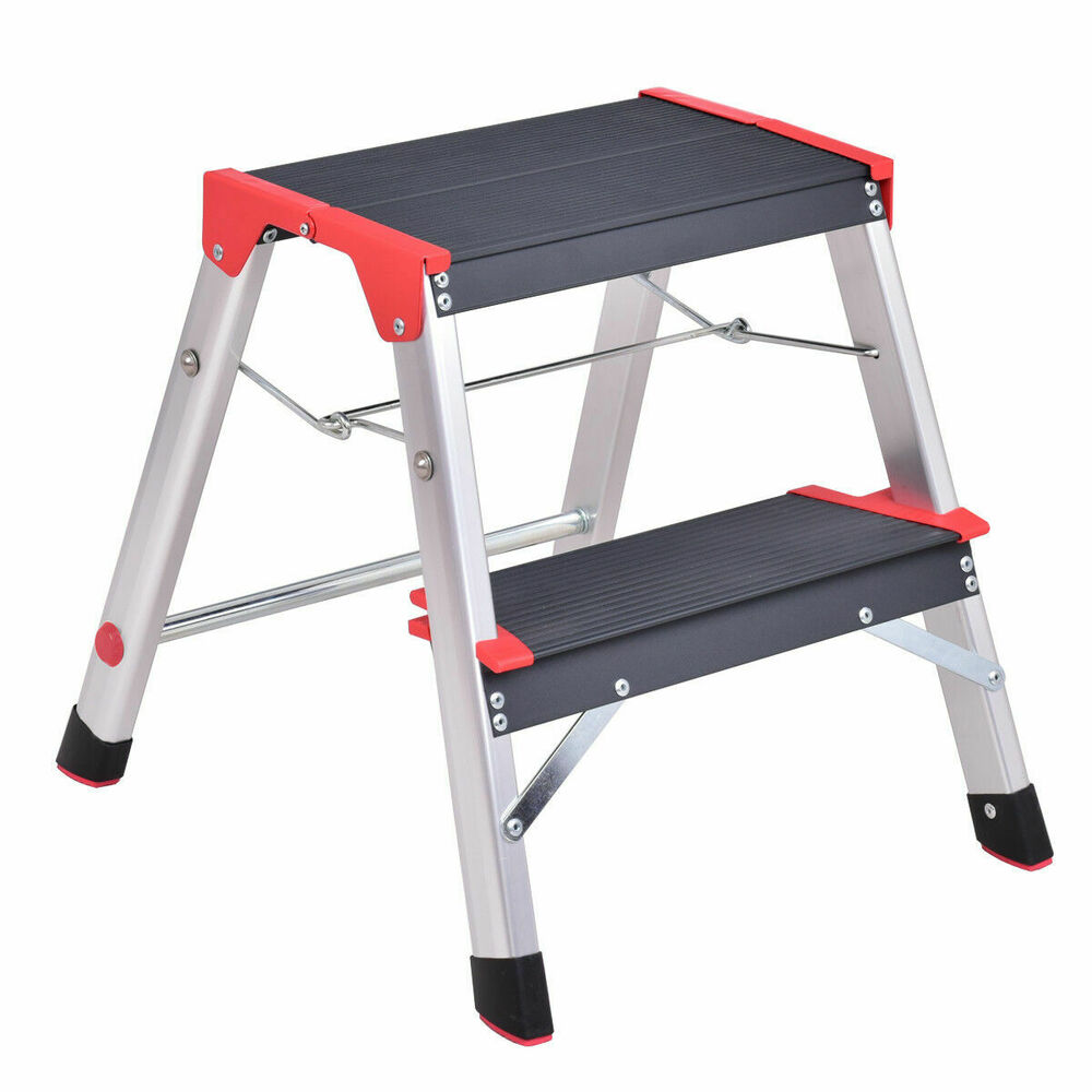 New Aluminum Ladder 2 Step Folding Platform Work Stool
