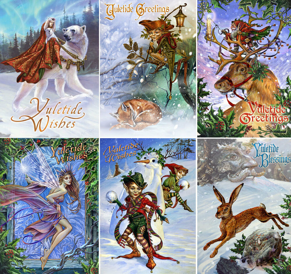 6 Yule Cards By Briar Midwinter Solstice Pagan Christmas Yuletide