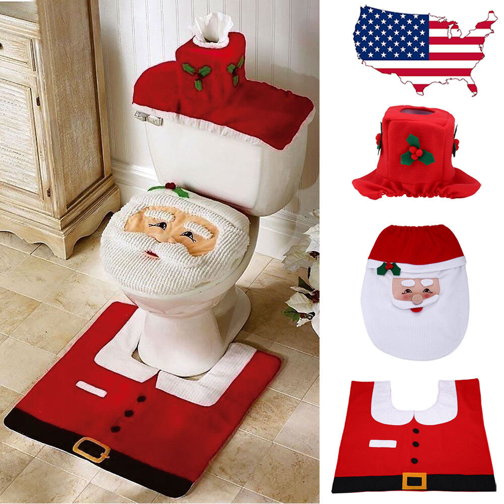Christmas Bathroom 3pcs Set Santa Toilet Seat Cover Floor Mat Holiday Decoration