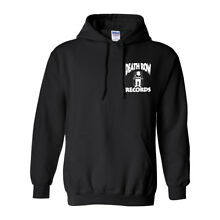 DEATH ROW RECORDS LEFT CHEST LOGO HOODED SWEATER HOODIE NEW - BLACK