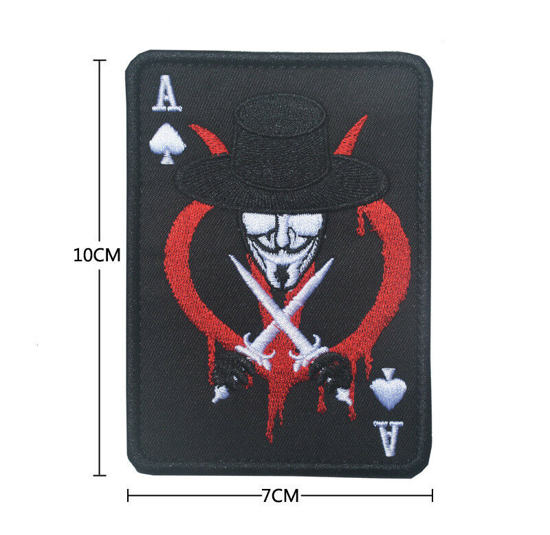 V VENDETTA ACE OF SPADES DEATH CARD USA ARMY TACTICAL SWAT