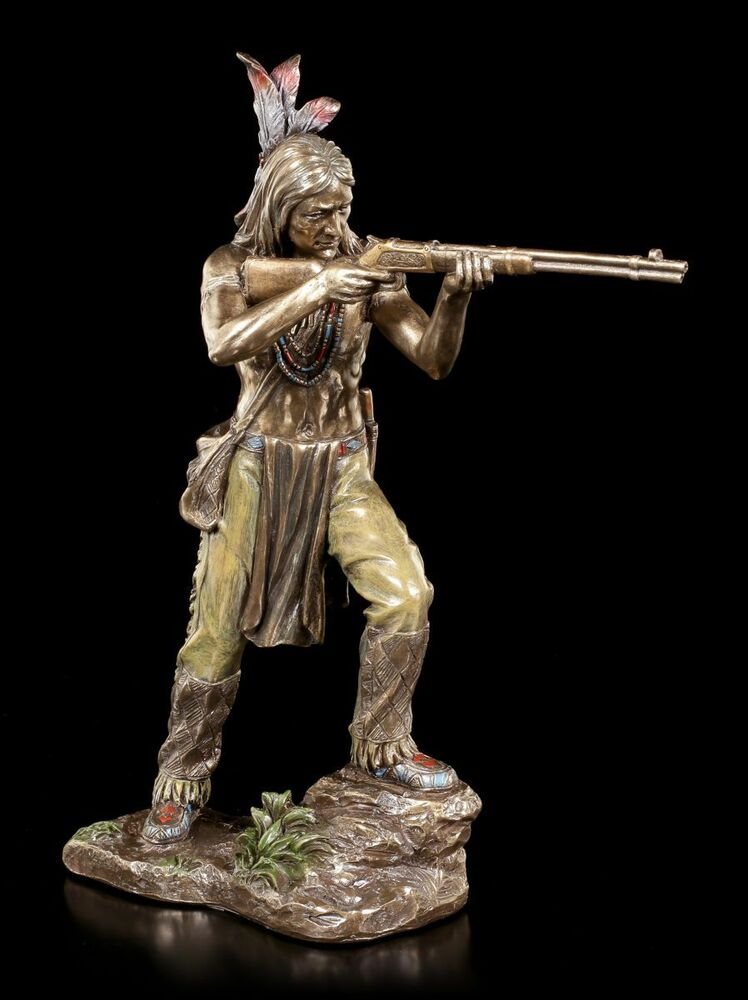 indianer figur krieger zielt mit gewehr veronese statue deko bronziert ebay. Black Bedroom Furniture Sets. Home Design Ideas
