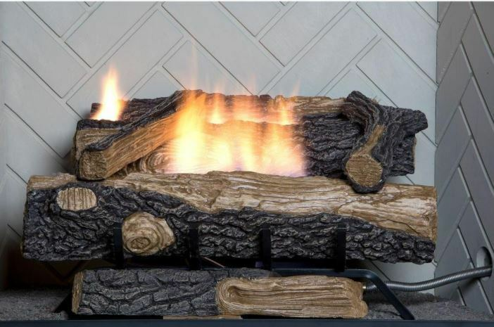 Natural Gas Fireplace Insert Fake Faux Logs Ventless Thermostat 24 Inch Heater Ebay