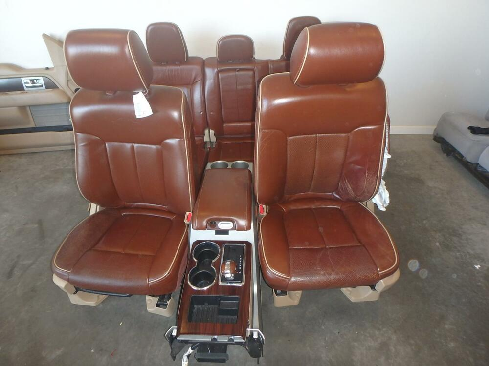 12 14 Ford F150 Front Rear Seat Console Tan Leather King