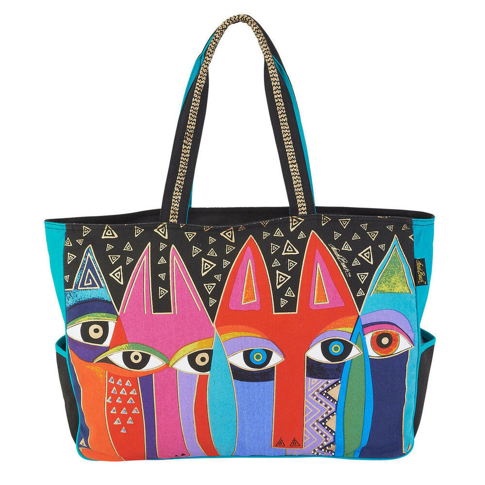 ee48d25348 Details about Laurel Burch Tribal Cats Large Feline Oversized Tote Handbag  Purse Black