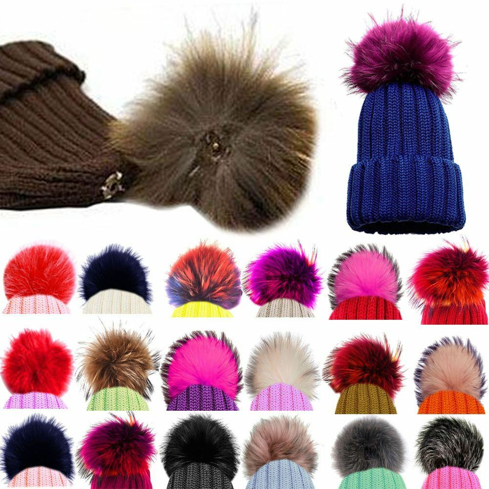 Details about NEW DETACHABLE COLOURED FAUX FUR POM POMS FOR HATS AND CLOTHES a2ca731bc29e