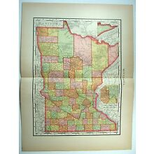 Original 1895 Map of Minnesota by Rand McNally