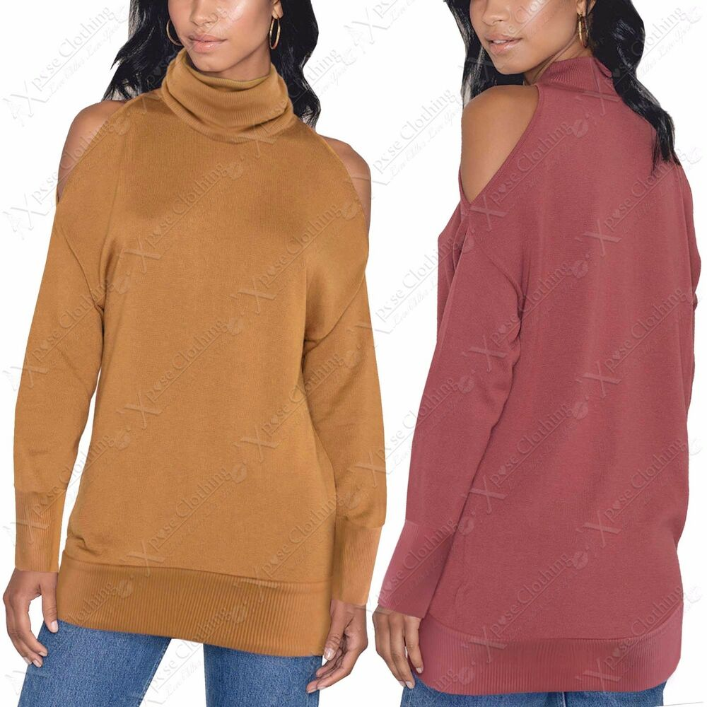22e9e63c6a2824 Details about NEW LADIES POLO NECK COLD SHOULDER RIBBED JUMPER WOMENS CUT  OUT BATWING LOOK TOP