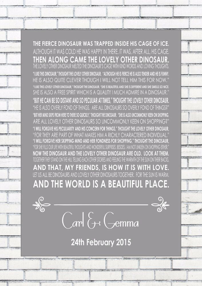A Lovely Love Story Edward Monkton Reading Wedding Personalised Print A4 Ebay