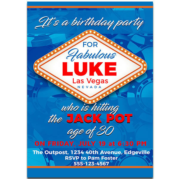 Las Vegas Sign Birthday Party Invitations