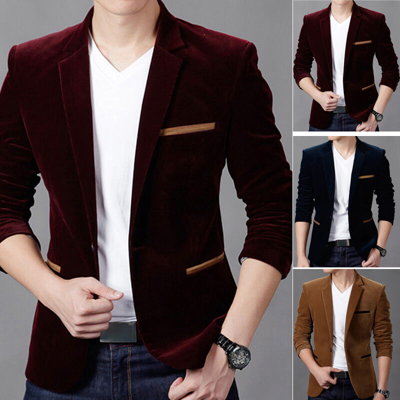 Details about Men s Velvet Long Sleeve Slim Fit One Button Blazer Stylish  Casual Tops Fashion 5ece3e86bfe7