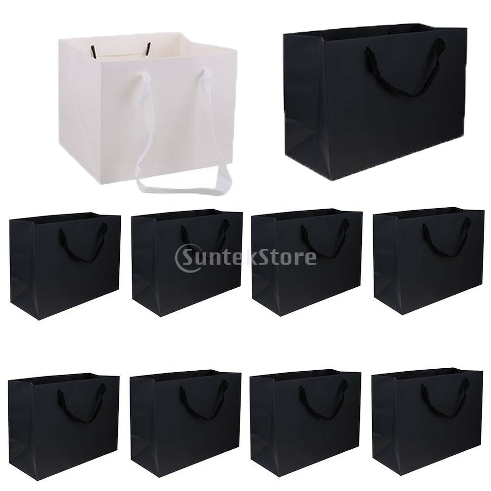 10pcs Party Gift Whiteblack Paper Bags With Handles Wedding