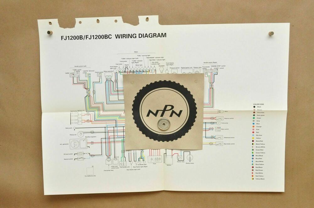 Vtg 1991 Yamaha Fj1200 B Fj1200 Bc Factory Color Schematic Wire