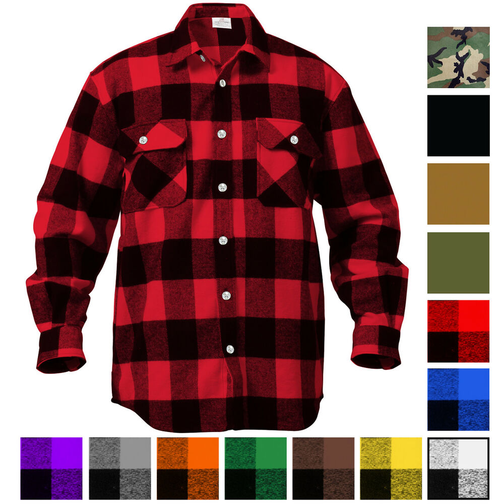 Plaid Flannel Shirt Brawny Buffalo Heavyweight Long Sleeve Checkered  Lumberjack  2fbb2d3c0b9