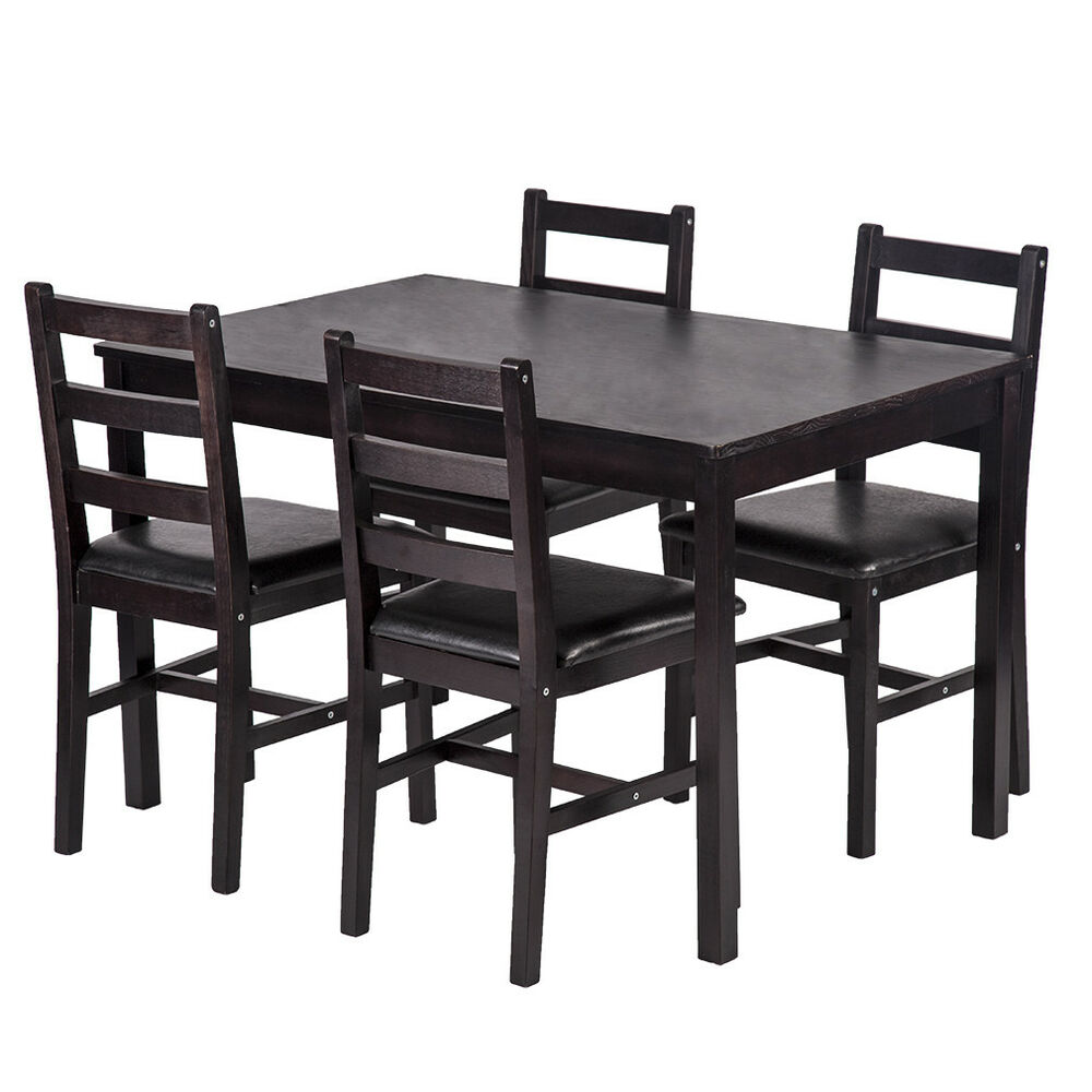 5PCS Dining Table Set Pine Wood Kitchen Dinette Table With