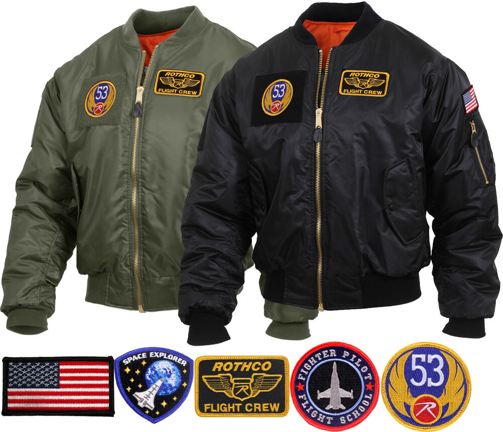 Mens Military Air Force Style MA-1 Flight Jacket with 5 Removable Patches  a62f05a74bb