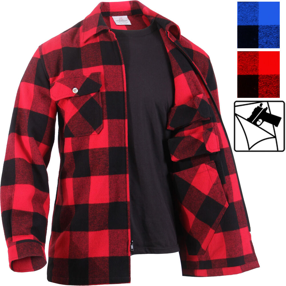 Concealed Carry Flannel Zip Shirt CCW Buffalo Plaid Check Tactical Jacket  Top  6c58a6fccb7