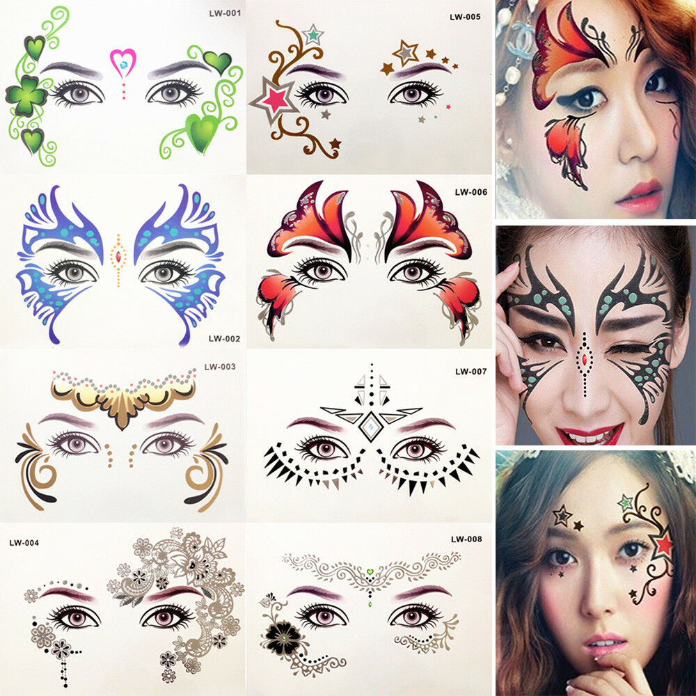 Details about Face Jewels Gems Adhesive Sticky Weddings Party Halloween  Glitter Facial Tattoo 88150547dc38