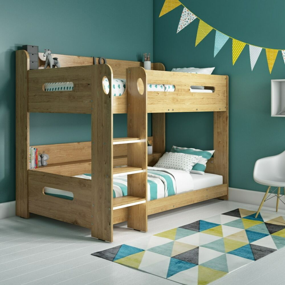 Modern Kids Oak Bunk Bed Storage Shelves 5060388566913