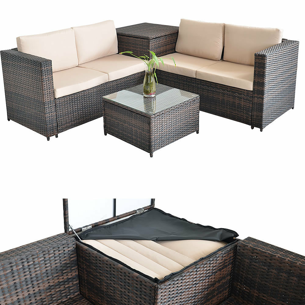 sitzgruppe polyrattan lounge sessel sofa sitzgarnitur gartenset braun kissenbox 4251258919392 ebay. Black Bedroom Furniture Sets. Home Design Ideas