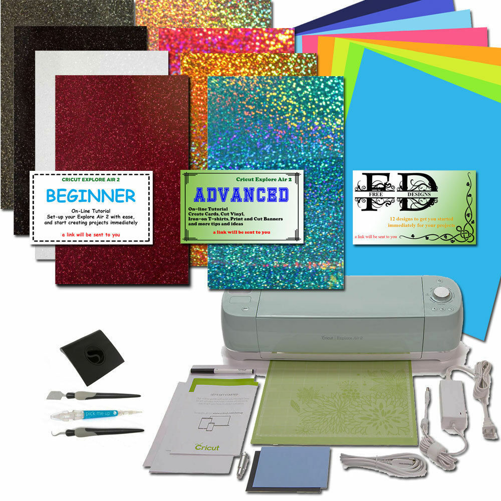 Cricut Explore Air 2 Machine with Holographic and Easy Weed HTV + Vinyl  sheets 93573462740   eBay