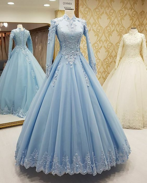 Long Sleeve Muslim Hijab Prom Dress Formal Party Evening Gown with ...