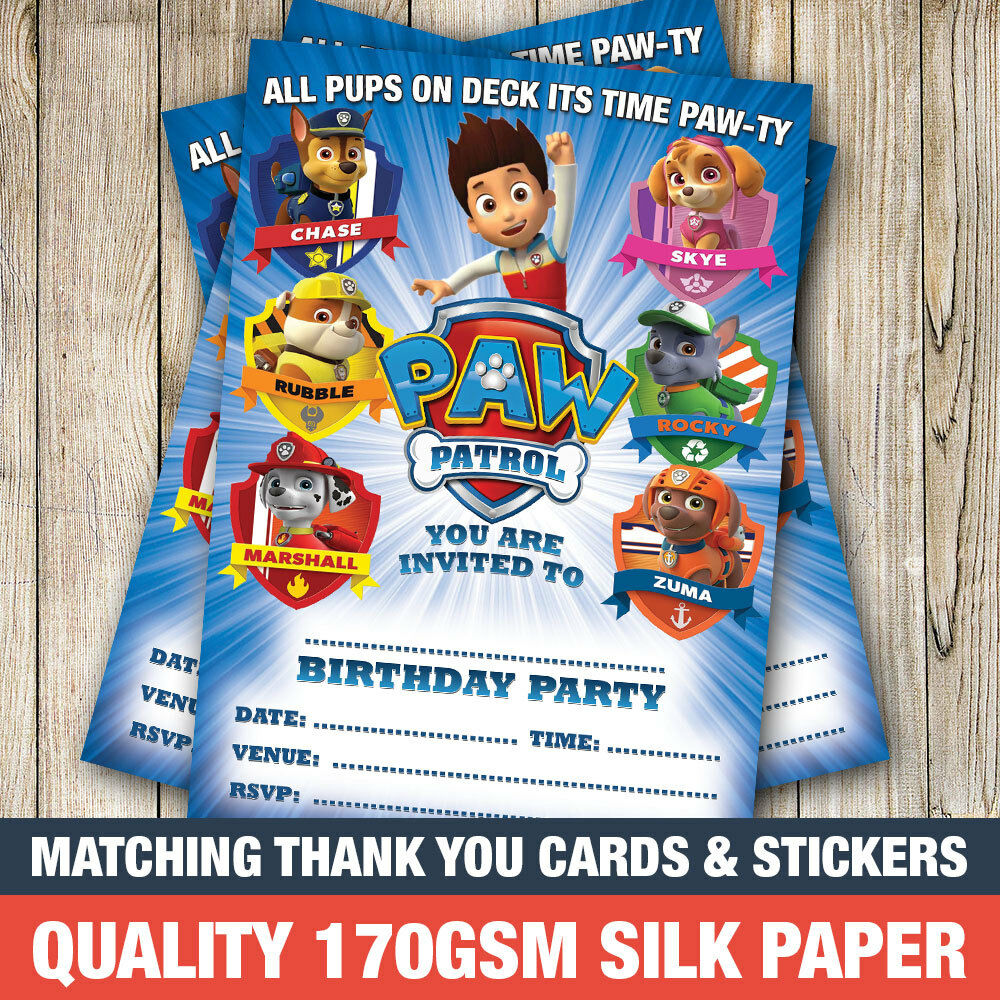 Details About 20 X Paw Patrol Birthday Party Invitations