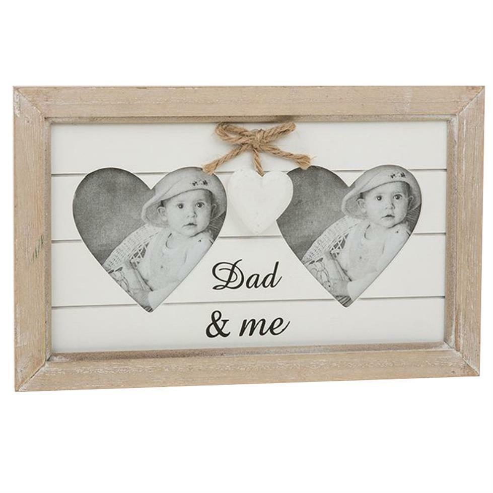 Double Heart Wooden Photo Frame - Dad & Me - Father\'s Day ...
