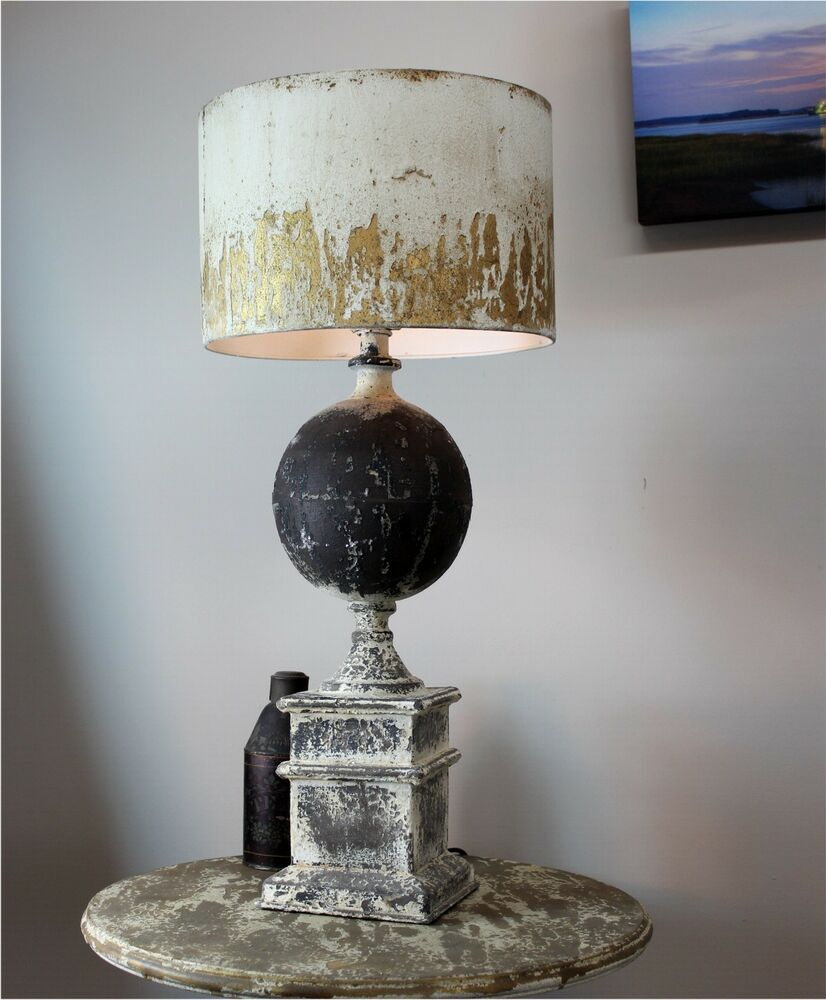 Details about french country shabby chic table lamp with aged gold leaf shade the kings bay