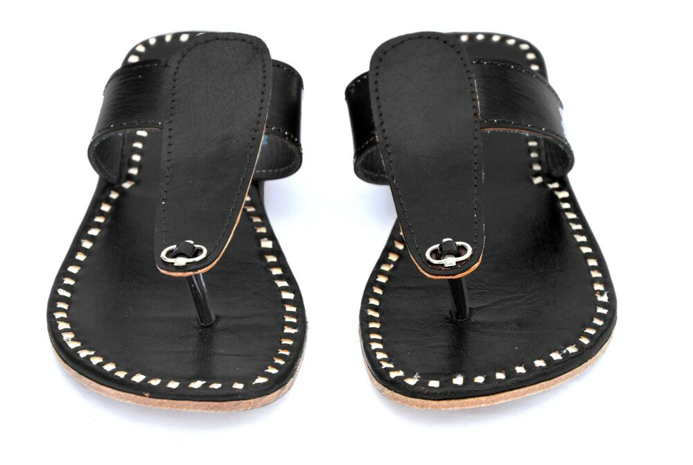 697c24acfb3a Details about mens slippers black leather slippers shoes handmade leather  sandals flipflops