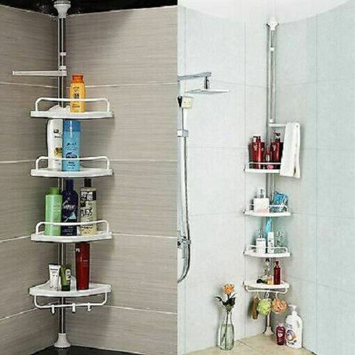 4 tier adjustable telescopic bathroom organiser corner - White bathroom corner shelf unit ...