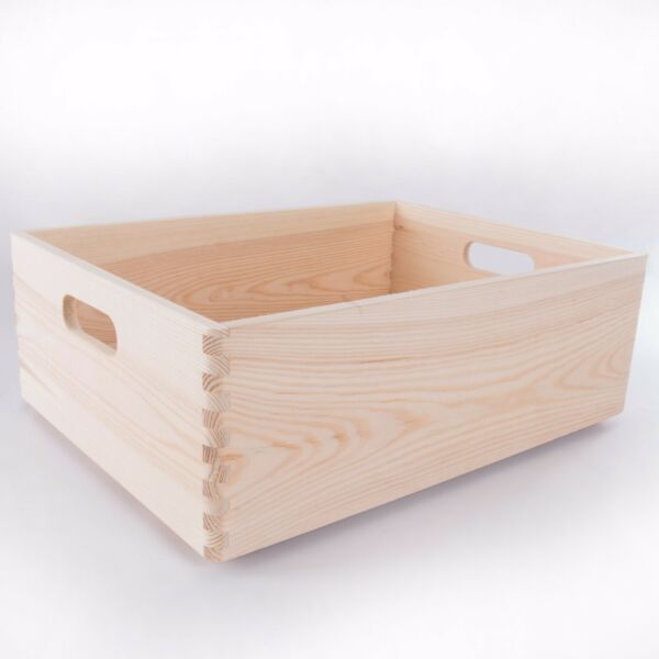 Large Wooden Stackable Storage Crate With Handles / Toy Keepsake Box / Craft