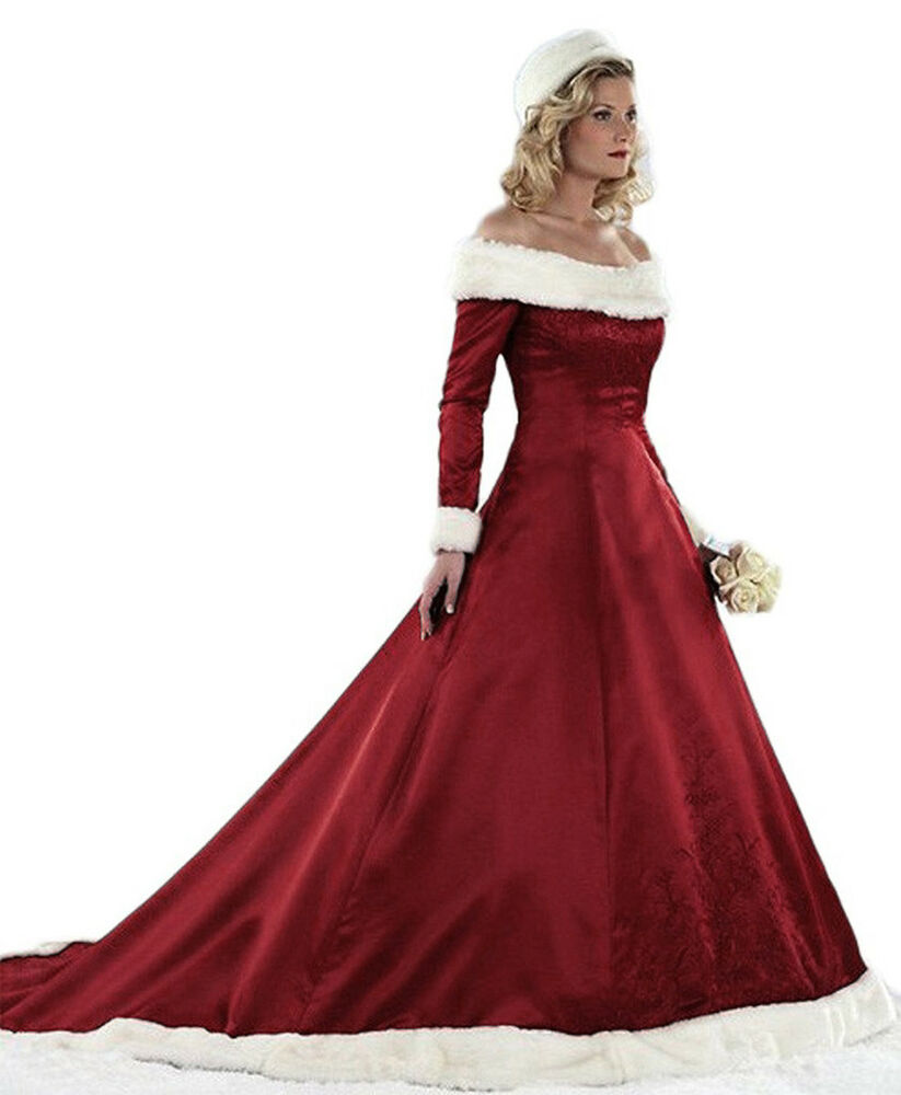fbc3b2262784 Details about Christmas Wedding Dress Plus Size Long Sleeve Winter Satin  Faux Fur Bridal Gowns
