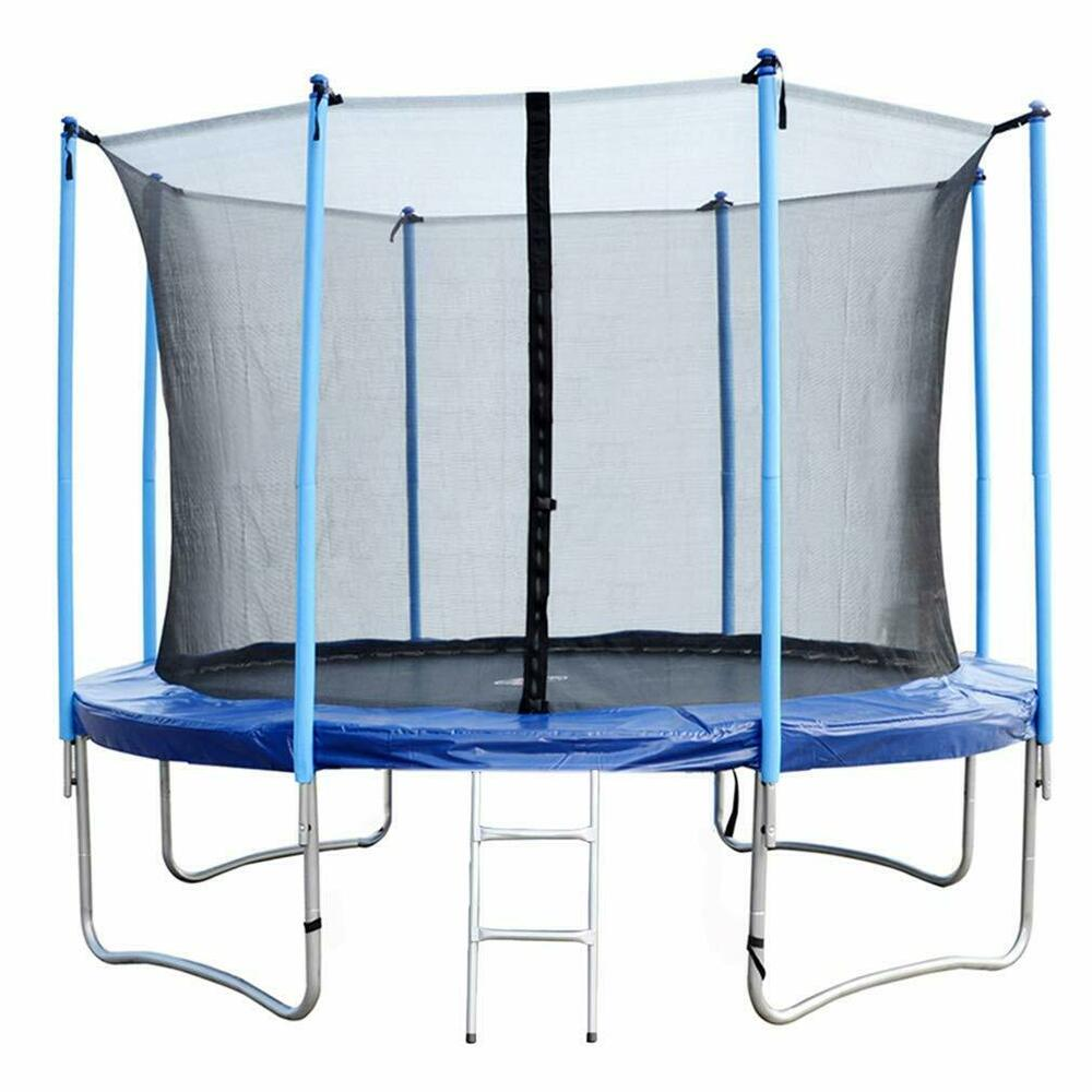 12 FT Round Trampoline With Enclosure, Net W/ Spring Pad
