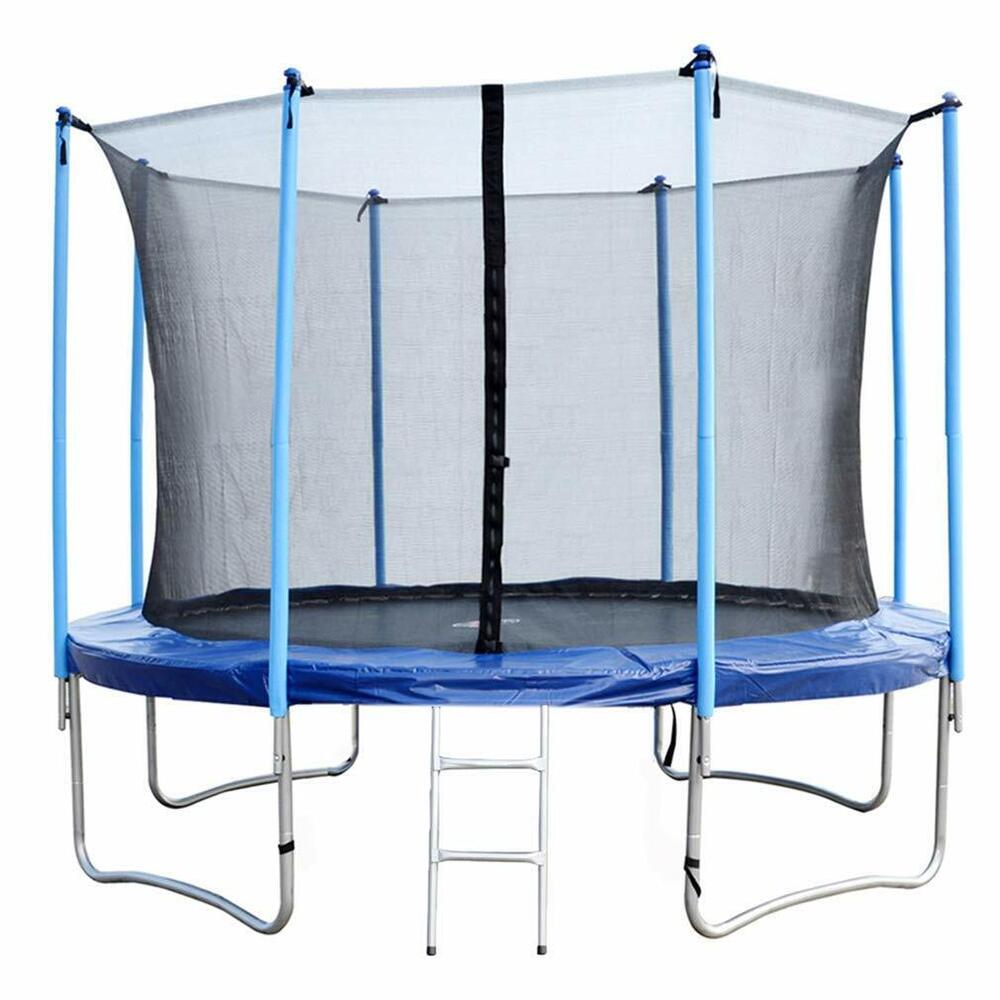 14 Ft Trampoline Combo Bounce Jump: 12 FT Round Trampoline With Enclosure, Net W/ Spring Pad